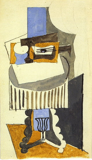 Pablo Picasso. Still life on a pedestal in front of an open window, 1919