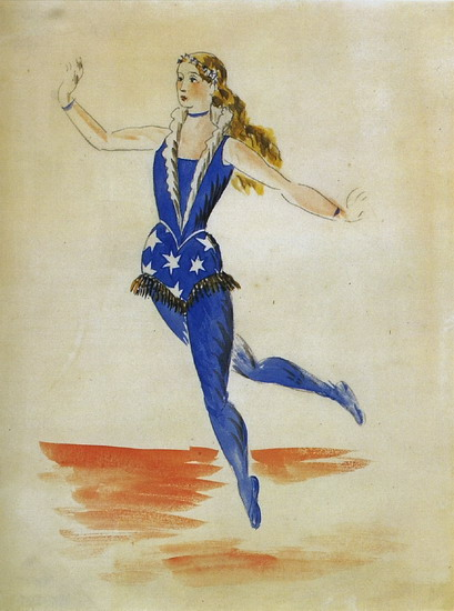 Pablo Picasso. Parade - project for the female costume l`acrobate, 1917