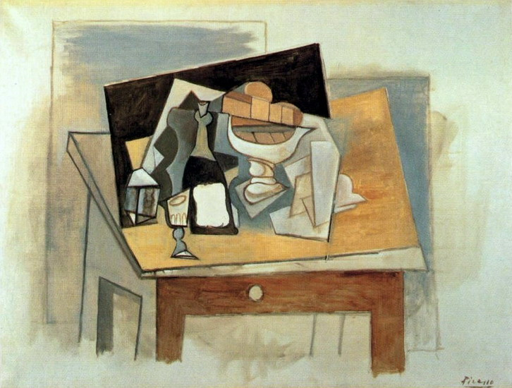 Pablo Picasso. Glass fruit bowl on a table, 1917
