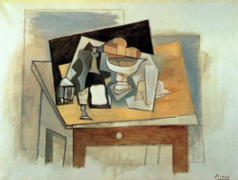 Pablo Picasso. Glass fruit bowl on a table