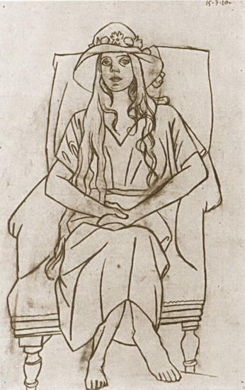 Pablo Picasso. Woman with hat sitting in a chair, 1920