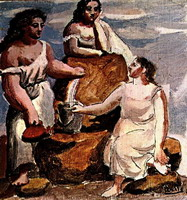 Three women in the fountain [study]