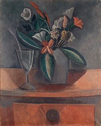 Pablo Picasso. Vase of flowers, glass of wine, and spoon, 1908