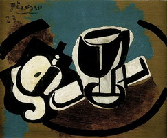 Pablo Picasso. Apple peeled, glass and knife