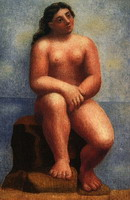 Nude female sitting on a rock