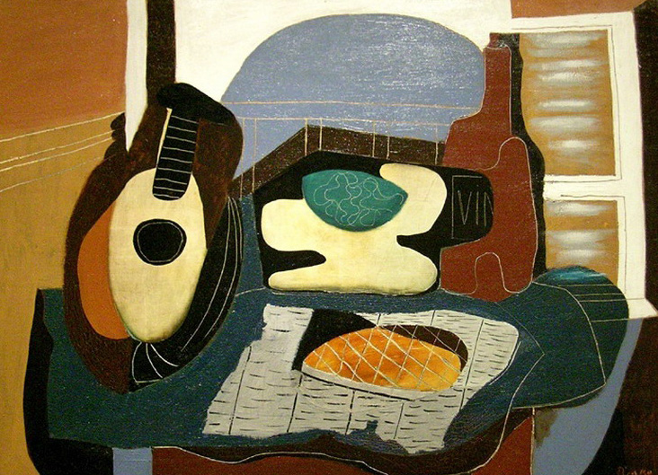 Pablo Picasso. Mandolin, fruit basket, bottle and pastry, 1924