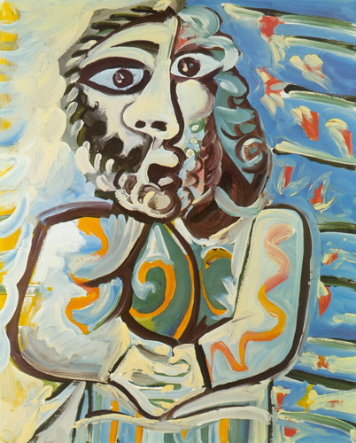 Pablo Picasso. Bust of man hands crossed, 1971