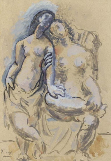 Pablo Picasso. Two naked femenins (Two Women), 1920