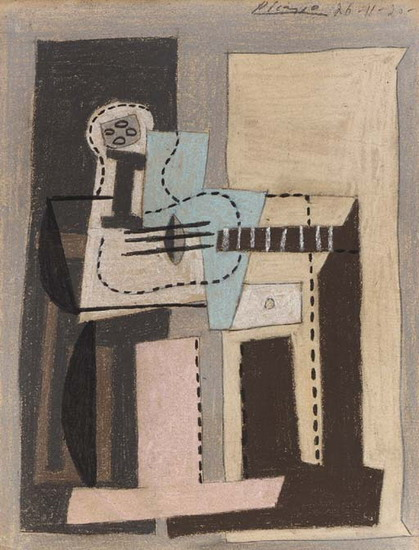 Pablo Picasso. Guitar and Fruit Dish on a square table, 1920