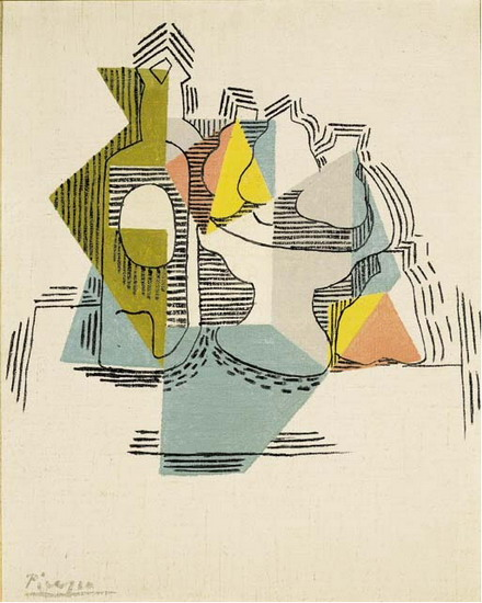 Pablo Picasso. Bottle and Fruit Dish, 1922