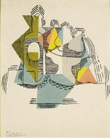 Pablo Picasso. Bottle and Fruit Dish