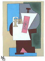 Pablo Picasso. Guitar and partition on pedestal, 1920