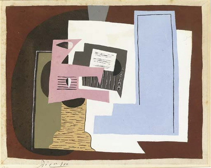 Pablo Picasso. Still Life with guitar and partition, 1920