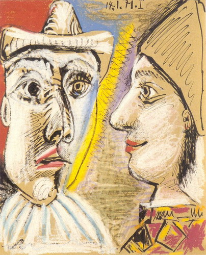 Pablo Picasso. Pierrot and Harlequin profile, 1971