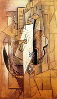 Pablo Picasso. Bottle of Bass guitar ace of clubs