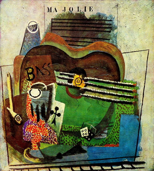 Pablo Picasso. Pipe, Glass, ace of clubs, bottle of Bass, guitar, (`My Jolie`), 1914