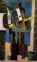 Pablo Picasso. Guitar, clarinet and bottle on a table