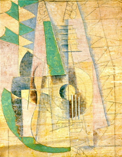Pablo Picasso. Green guitar that extends, 1912