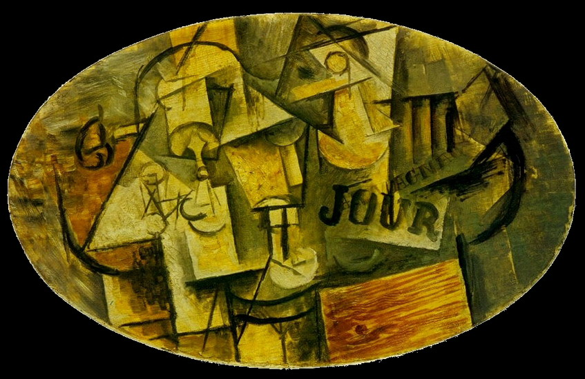 Pablo Picasso. Guitar, Glass and Newspaper, 1912