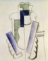 Pablo Picasso. Female Guitar on a table