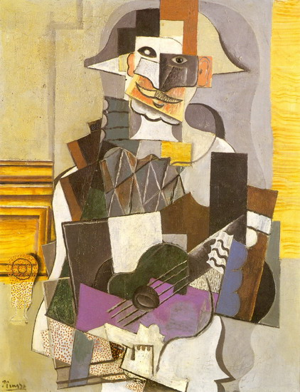 Pablo Picasso. Harlequin with guitar [Harlequin playing the guitar], 1914