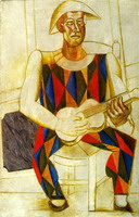Seated Harlequin with guitar