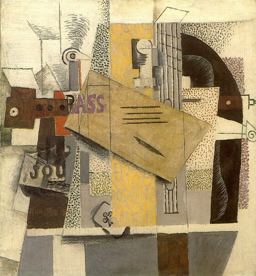 Pablo Picasso. Bottle of Bass, clarinet, guitar, violin, newspaper, ace of clubs [violin], 1913