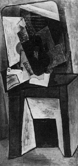Pablo Picasso. Guitar and partition on a chimney, 1916