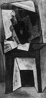 Pablo Picasso. Guitar and partition on a chimney