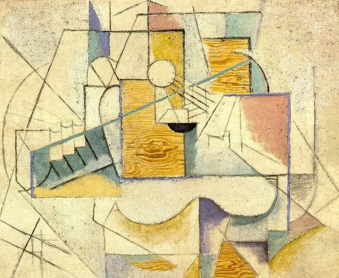 Pablo Picasso. Guitar on a table II, 1912