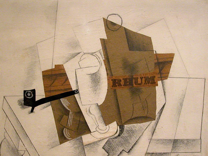 Pablo Picasso. Pipe, Glass and bottle of rum, 1914