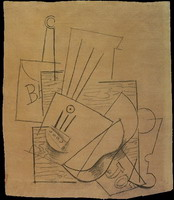 Pablo Picasso. Bottle of Bass, guitar, newspaper and glass on a square table
