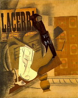 Pablo Picasso. Pipe, glass, newspaper, guitar, bottle of old brandy (`Lacerba`)