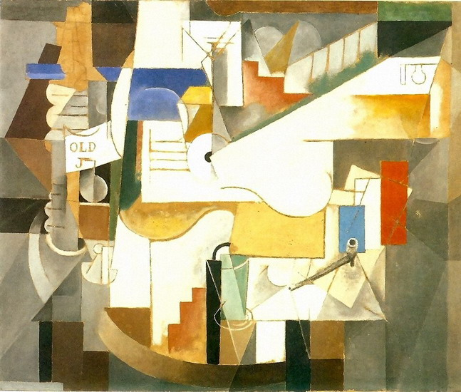 Pablo Picasso. Bottle, guitar, pipe, 1912