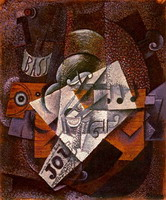 Pablo Picasso. Bottle, clarinet, violin, newspaper, glass