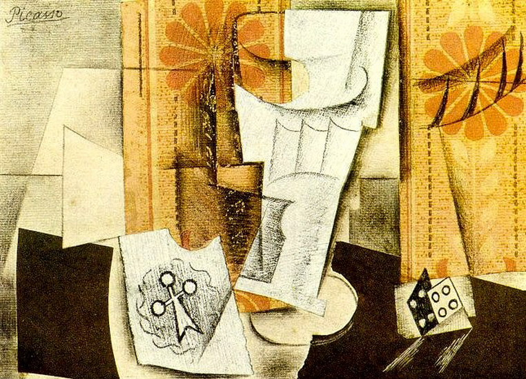 Pablo Picasso. Glass, ace of clubs and, 1914