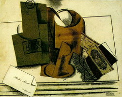 Pablo Picasso. Bottle of Bass, glass, tobacco package, business card