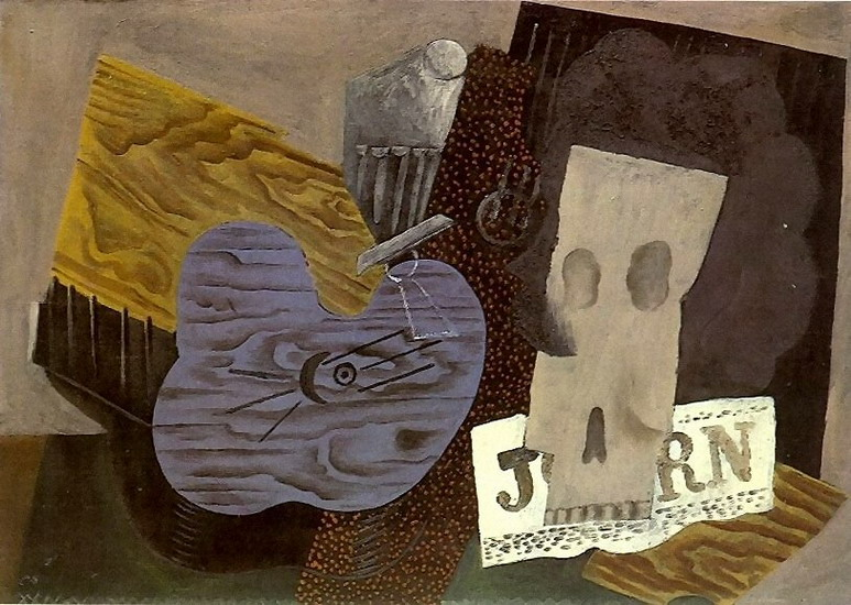 Pablo Picasso. Guitar, skull and newspaper, 1913