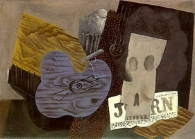 Pablo Picasso. Guitar, skull and newspaper