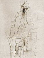 Man with pipe seat and tuck [Man with pipe elbows on a table]