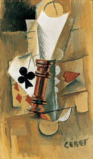 Pablo Picasso. Drink and playing cards, 1912
