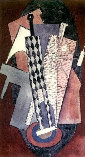 Pablo Picasso. Harlequin holding a bottle and woman, 1915