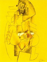 Pablo Picasso. Man with hat playing guitar [Guitar Player]