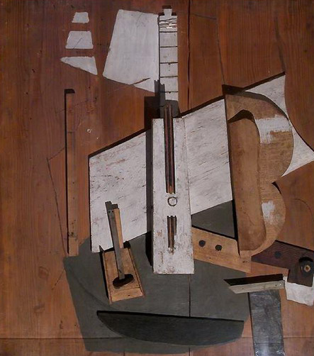 Pablo Picasso. Bass guitar and bottle of, 1913