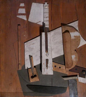 Pablo Picasso. Bass guitar and bottle of