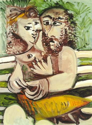 Pablo Picasso. Couple sitting on a bench, 1971
