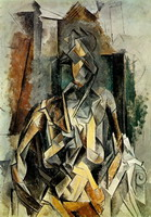 Woman sitting in an armchair