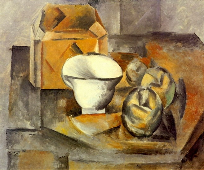 Pablo Picasso. Still Life (cabinet, fruit dish, cup), 1909