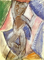 Pablo Picasso. Young naked boy (Nude with arms leves)