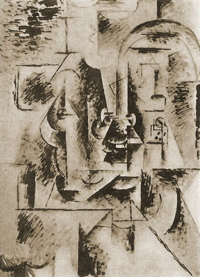 Pablo Picasso. Man head with pipe, 1911